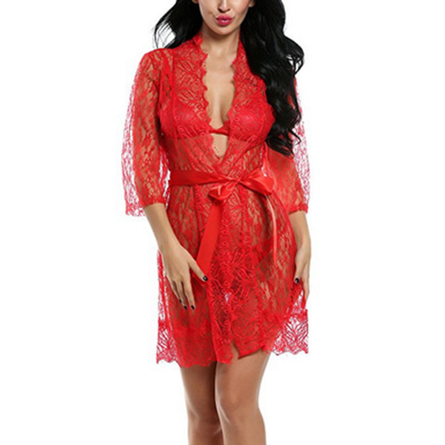 Sexy Ladies  Lace Satin Robe Gown Solid Soft Nightgown Nightwear Kimono Bathrobe  Sleepwear Wedding Bride Bridesmaid Robes 4c397ee79