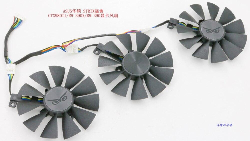 Prix pour Nouvelle D'origine pour ASUS STRIX Raptor GTX980Ti/R9 390X/R9 390 carte graphique ventilateur de refroidissement FONSONING