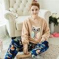 De lujo hermosa mujer para adultos pijamas de las muchachas de las mujeres conjuntos de pijamas de invierno 2 unidades de las mujeres ropa de dormir de Franela Pijamas para las mujeres