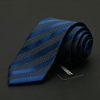 NEW Mens Ties Blue Striped 7cm Designer Fashion Brand Neck Tie Business Tie for Suit Ties for Men Microfiber Gravata Gift Box