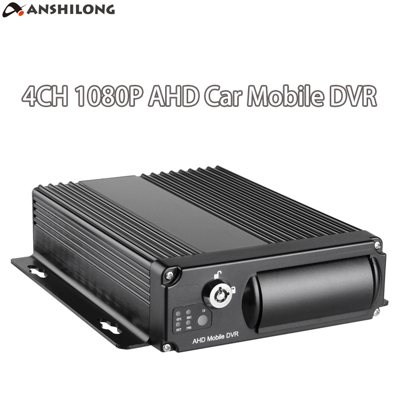 ANSHILONG 1080P MINI Realtime SD Car AHD Mobile DVR 4CH Video/Audio Input with Remote Controller Encrption