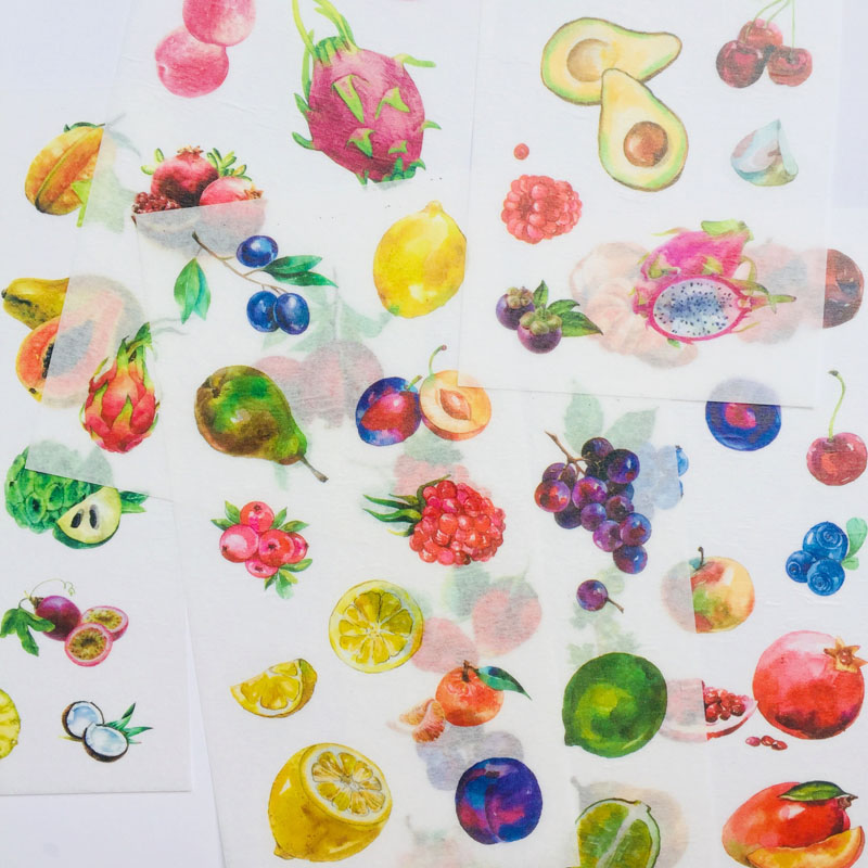 6 Sheets Fresh Colorful Fruits Washi Paper Decorative Stickers Computer Notebook Decor