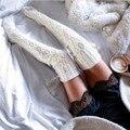 Колледж Стиль Turn Up Ребер Полушерстяные Носки 2016 Женщин Зима теплые Носки Бедренной Кости Высокие Над Коленом Трикотажные Копить Долго Загрузки носки