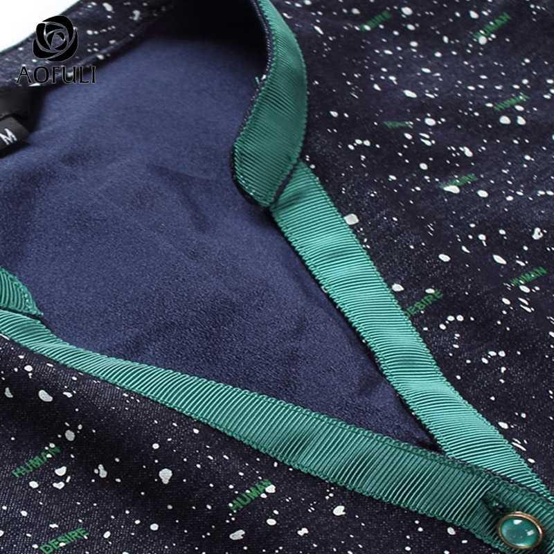 حجم M/L/XL النساء فستان أزرق مطبوع الخريف الشتاء طويلة الأكمام واحدة الصدر الخامس الرقبة فساتين الموضة B6157