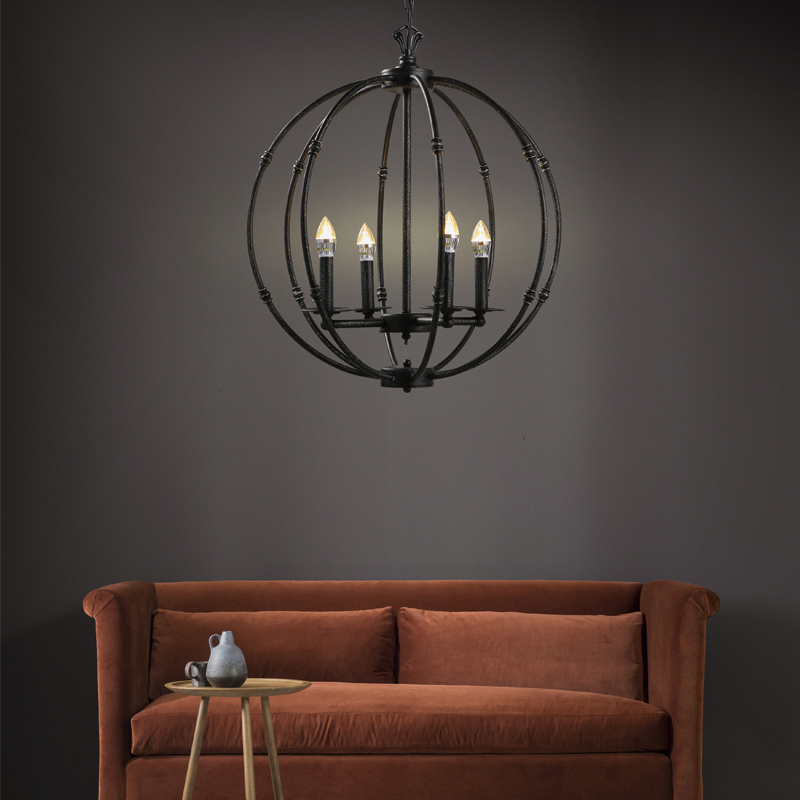 American Loft Industrial Style Retro Pendant Light Iron Ball Pendant Lamp for Cafe Restaurant Bar Lighting Fixtures Decoration