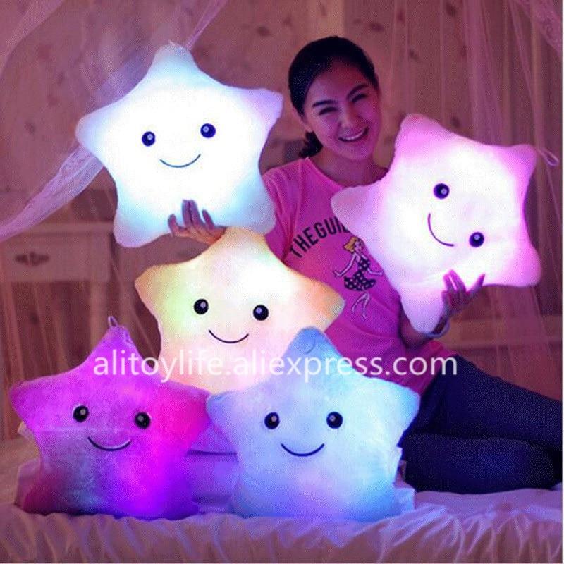 Bright Star Pillow Plush Toys Cute Luminous Pillow Toy Led Light Pillow Glow in Dark Plush Pillow Doll Toys for Children Kids
