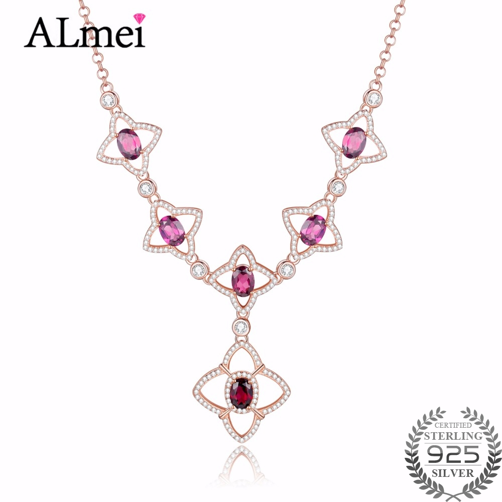Almei 1ct Star Garnet 6pcs Beads Genuine 925 Silver Cute Flower Pendant Necklaces Rose Gold Color Jewelry with Box 40% FN032
