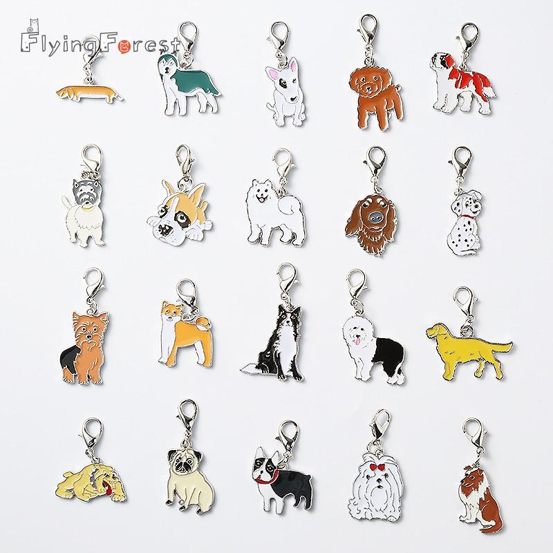 2PCS/LOT DIY Pet pendants bracelet dogs charm dachshund bulldog samoyed chihuahua metal Keychain on bag Gifts to best friend