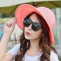 2016 Летние Шляпы Для Женщин Feminino Новая мода На Открытом Воздухе Козырьки Cap Sun Складной шляпа 6 цветов