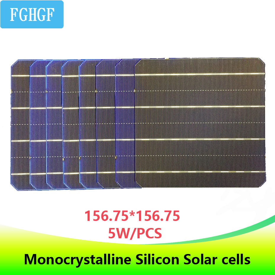 20 PCS high efficient 0.5v 5w 156*156MM Photovoltaic monocrystalline Silicon solar Grade A 100W for home solar panel DIY use