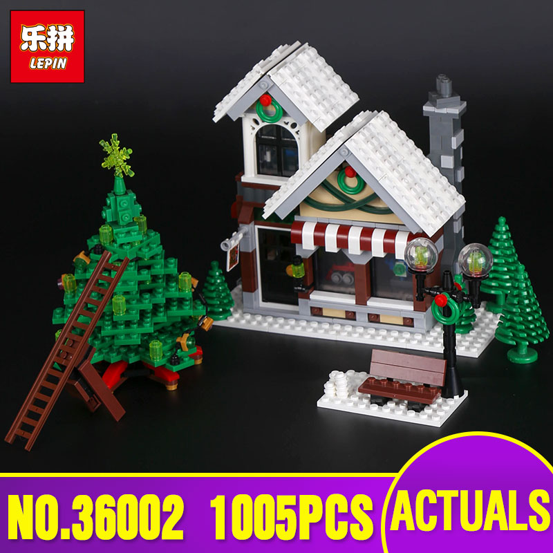 Lepin 36002 The Winter Toy Shop Set Educational Toys Model Creative Series Building Blocks Bricks legoing 10249  Christmas gift lepin 36002 1005pcs street view series winter toy store christmas model building blocks set bricks toys for children gift 10249
