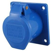 AC 220-250V 16A 2 P+ E IEC309-2 Панель Крепление Промышленный разъем синий