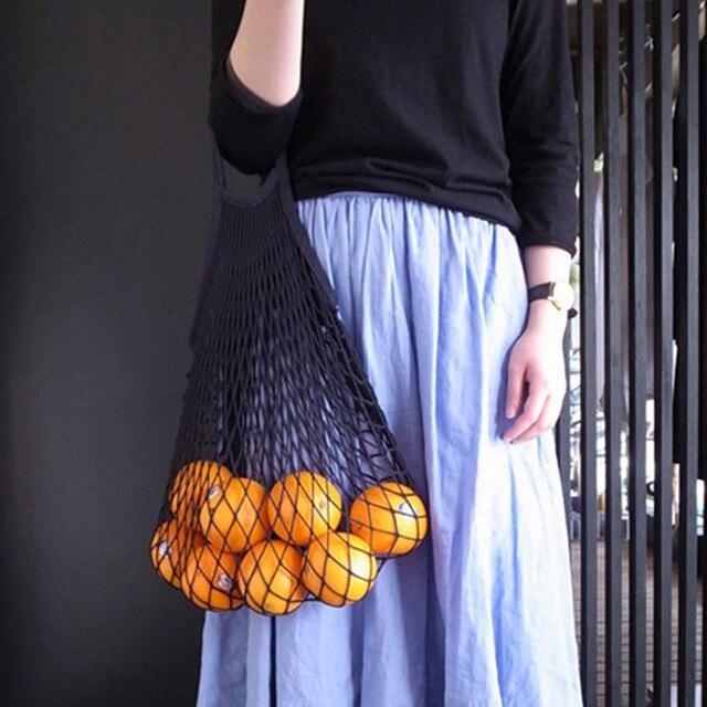 Rede de malha Saco de Compras Reutilizável Dobrável Algodão Fruit Caso de Armazenamento Mercearia Shopper Tote bolsa de Ombro Mulheres Saco Alça de Ombro