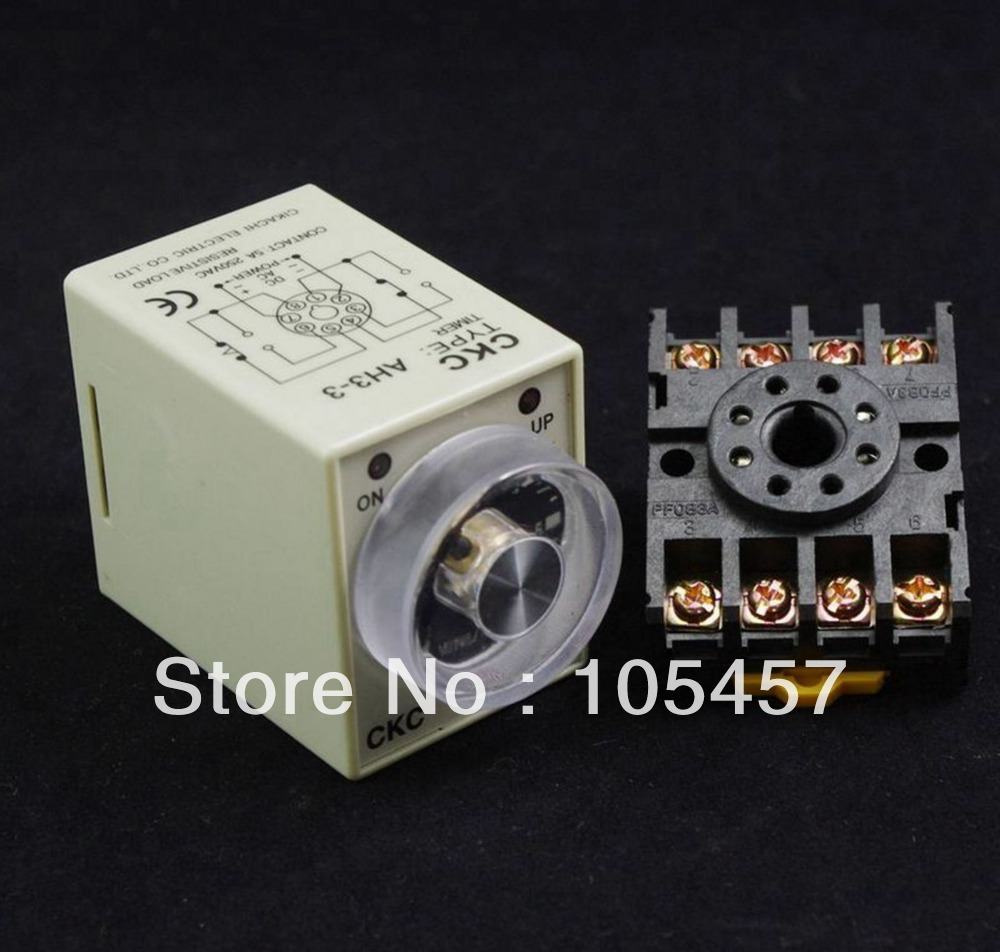 24VDC Power on delay timer time relay 0-60 minutes AH3-3