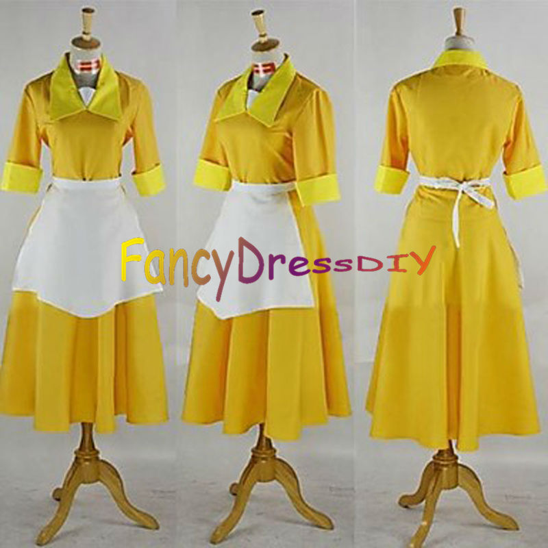 New!Tiana Adult Costume Waitress Yellow Dress The Princess and The Frog Cosplay: