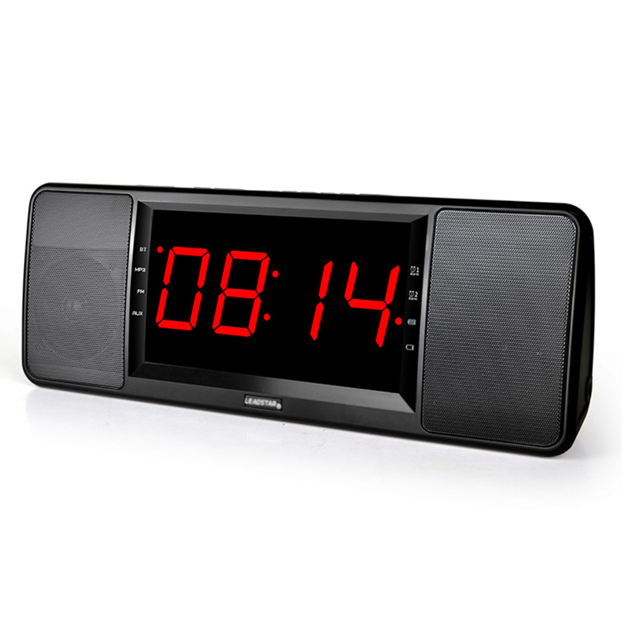2018 New LCD Digital Display Wireless Bluetooth Speaker FM Radio Dual Alarm Clock TF Bluetooth Stereo Speaker For iPhone ui b30 rubber bluetooth v3 0 speaker w microphone tf fm for iphone black grey