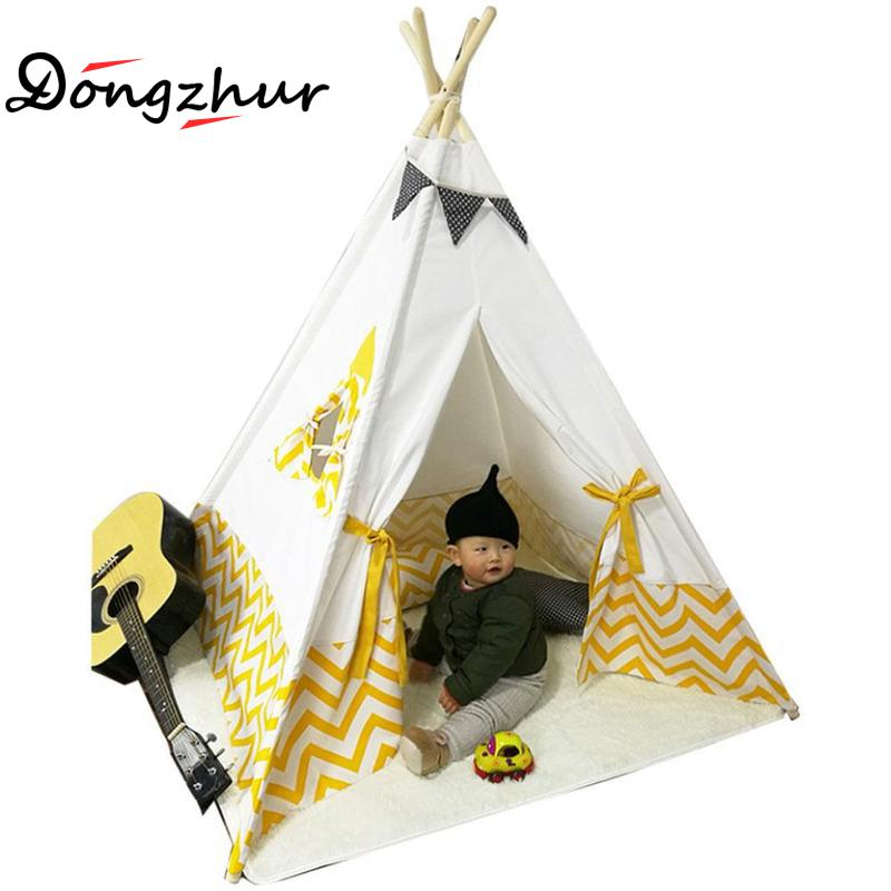 Kids Play Indian Tent Cotton Canvas Teepee Children Toy Tent White Yellow Play House For Baby Indoor Tipi Princess Play Tent interior tent korea tent children tent saving warm in winter breathable children s tent play house