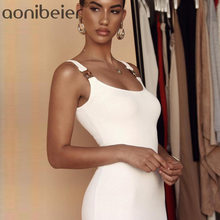 Aonibeier Sexy Bodycon Spaghetti Strap White Dress Women Slim Fit Metal Button Spring Striped Texture Female Dresses(China)