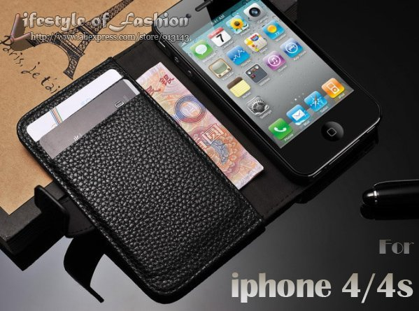 High Quality Fashion Wallet Case For iphone 4g With Card Holder Stand Design Leather Case For iphone 4s Mobile Phone Accessory