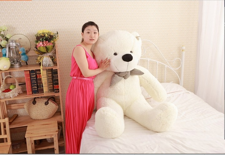 lovely huge bear toy plush toy cute big eyes bow stuffed bear toy teddy bear birthday gift white 160cm lovely new plush teddy bear toy stuffed light brown teddy bear with bow birthday gift about 120cm