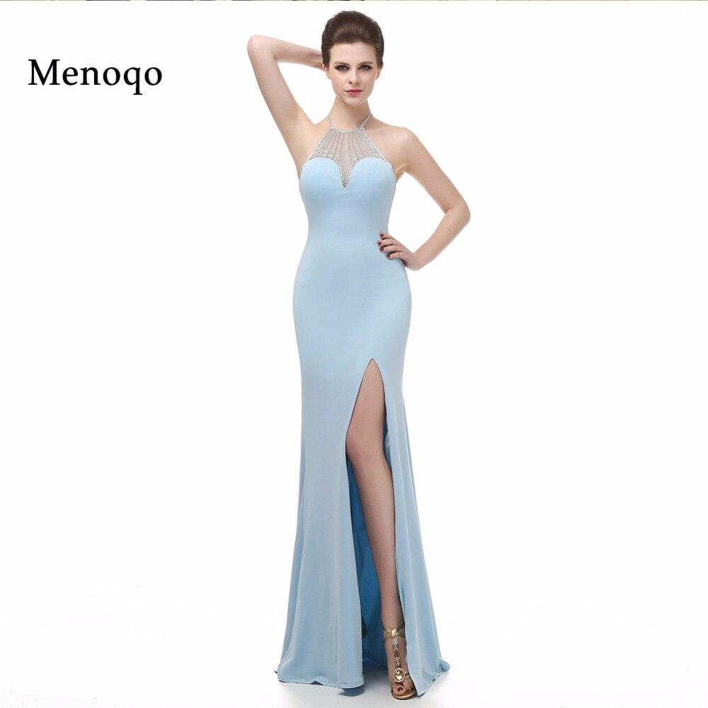 Sexy dame belle nouvelle conception de mode sirène côté fente licou cou longueur de plancher longue Photo réelle dernières robes de soirée élégantes