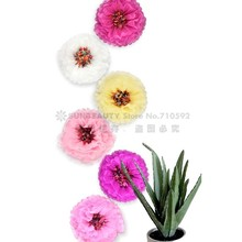 Tropical Hawaiian Party Decoration 1pc 14(35cm)  Chrysanth Flowers Tissue Pom Poms Flower For Wedding Decor Beach Luau