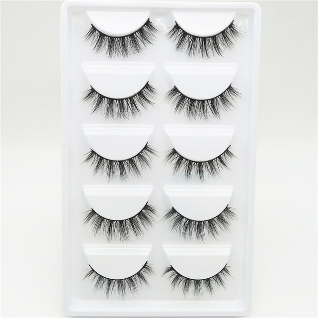 YOKPN Short Cross 3D False Eyelashes Natural Soft Black Mink Hair Eye Lashes Makeup Tools Women Fake Eyelashes 5 Pair 1