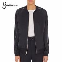 Yanueun 2017 Women Jacket Brand Tops Wear On Both Side Girl Plus Size Casual Baseball Sweatshirt