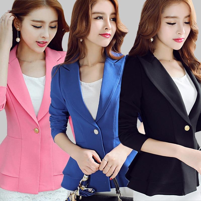 Elegant summer Autumn Blazer Women 2018 Long Sleeve Office Formal Jacket Women Pink Black Slim Blazers Jackets Plus size 2XL