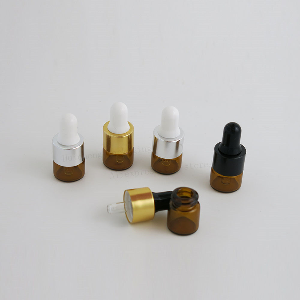 100 x  1ML Amber Small Glass Dropper Bottles Conainers For Essential Oil Perfume tiny portable bottles Mini Drop Vials