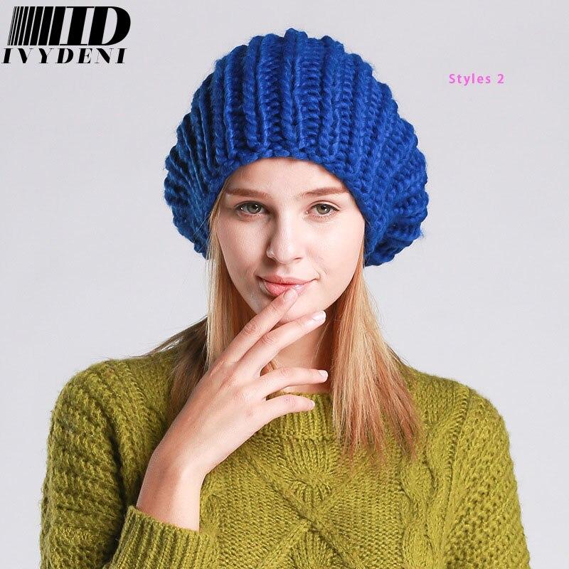 2018 nuevas líneas gruesas mano crochet CAPS mujer invierno cálido ...