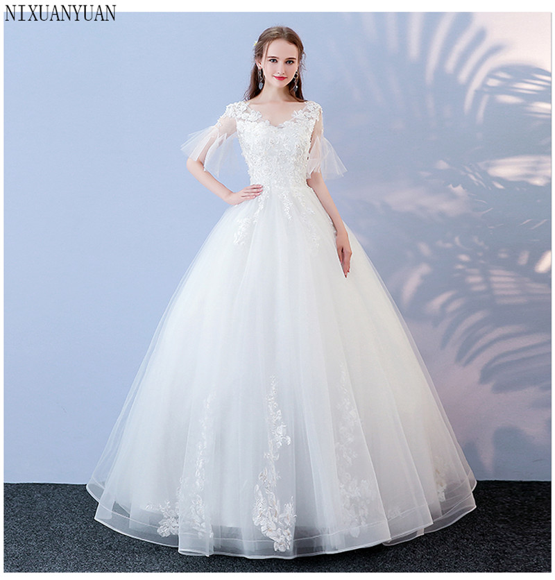 New Vestidos De Novia Vintage Ball Gown Tulle Wedding Dress 2020 V-neck Quality Lace Wedding Bride Dress