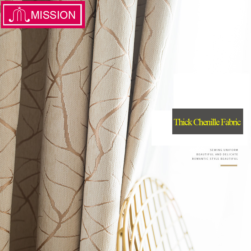 MISSION Chenille Jacquard Heavy Thick Thermal Insulated Window Blackout Curtains Blinds Panel Drapes For Bedroom Living Room