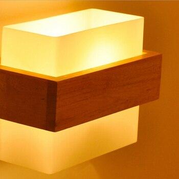 Настенные светильники в японском стиле для гостиной, спальни, современная стеклянная сплошная деревянная прикроватная лампа для кафе, кори...