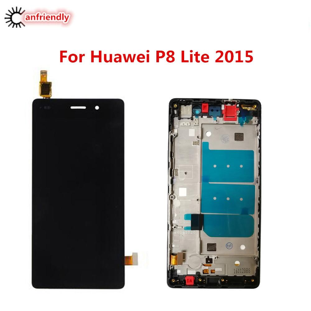Para Huawei P8 Lite 2015 pantalla LCD + pantalla táctil con marco digitalizador Asamblea reemplazo de Panel de vidrio para Huawei P 8 Lite 2015