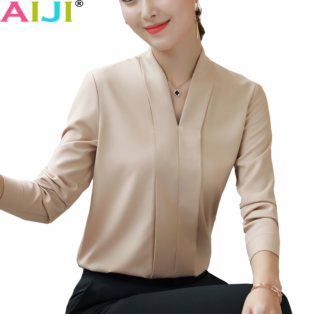 8ee68d67dd9 Plus Size Women Tops and Blouses 2018 Autumn Elegant Long Sleeve Solid V- neck OL Chiffon ...