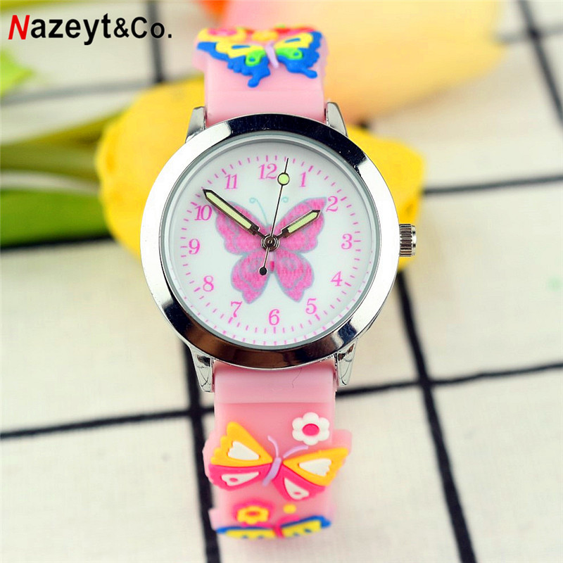 NAZEYT New Fashion Kids Quartz Watch Little Boys And Girls Children Butterfly Face 3D Silicone Strap Watch Luminous Hands Watch