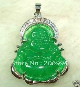 Модные ювелирные изделия Рождество натуральный зеленый камень Будда Кулон ожерелье 2 шт./лот Цепочка