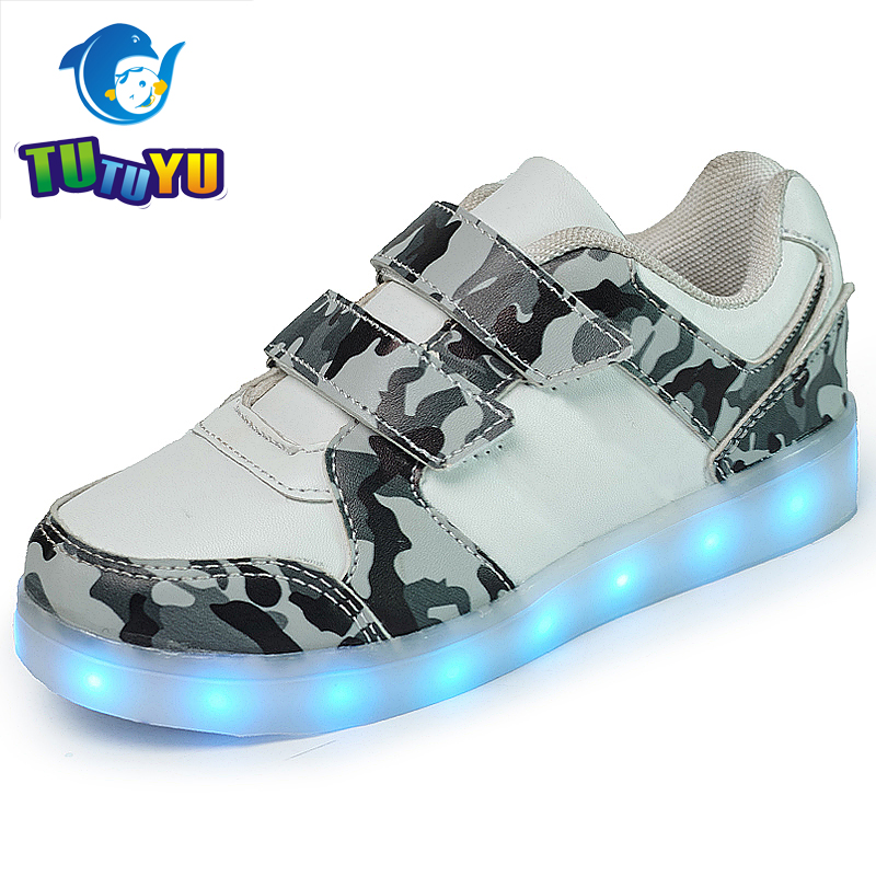TUTUYU Camo Luminous Glowing Sneakers Child Kids Sneakers Luminous Colorful LED Lights Children Shoes Girls Boy Shoes joyyou brand usb children boys girls glowing luminous sneakers with light up led teenage kids shoes illuminate school footwear