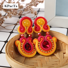 KPACTA Ethnic Style Leather Drop Earrings Fashion Jewelry Women Soutache Handmade Weaving Big Hanging Earring Party Oorbellen