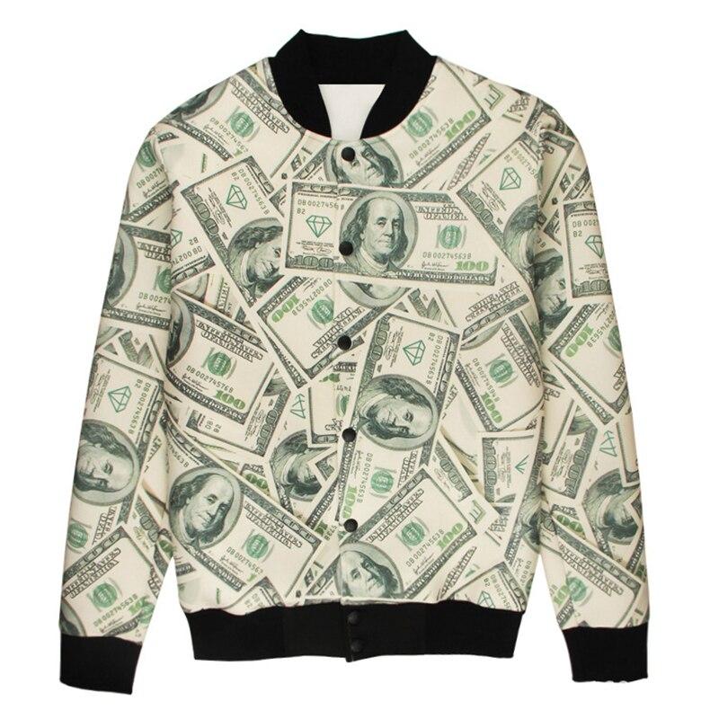 Hot sale 3d print jacket men fashion money print mens for 6 dollar shirts coupon code free shipping