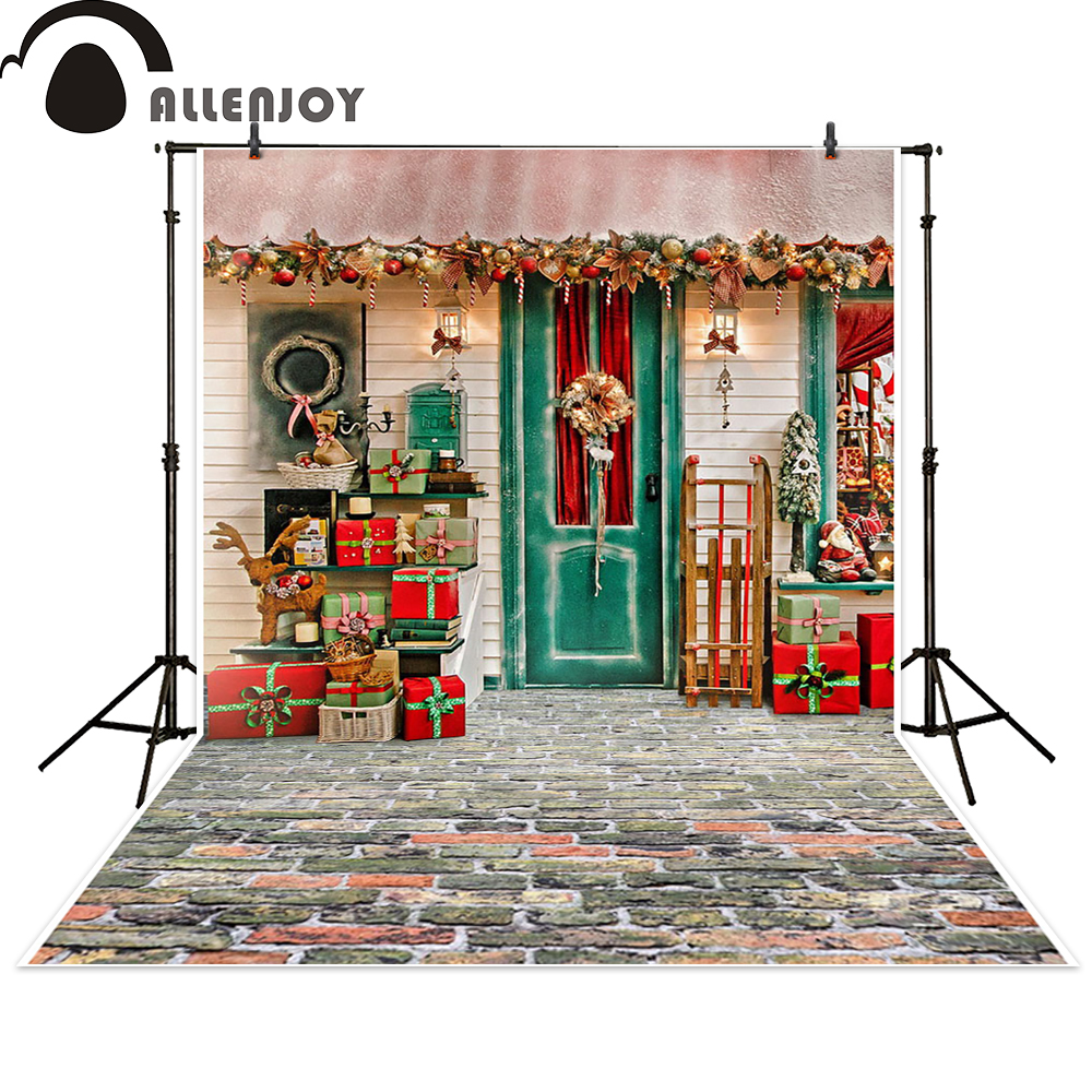 Allenjoy photography backdrop Christmas gift house celebrate background photocall photographic photo studio photobooth allenjoy christmas photography backdrop wooden fireplace xmas sock gift children s photocall photographic customize festive