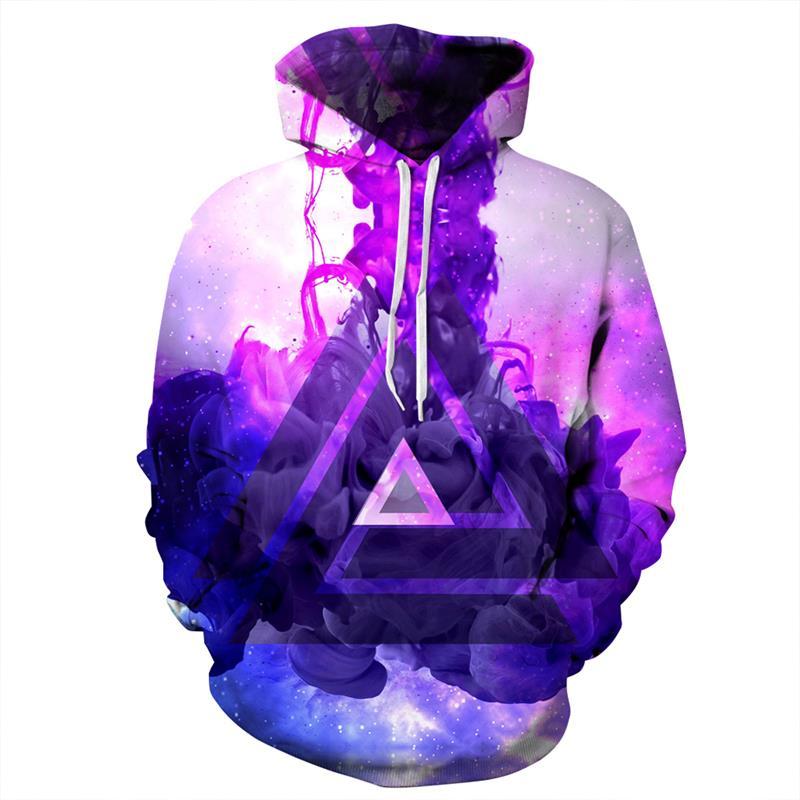 2017 New Hoody Sweatshirt Men Women Unisex 3D Graphic Printed Triangle Drawstring Pockets Hoodie Fleece Sweatshirts