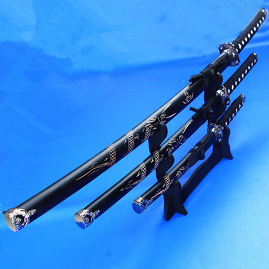Dekorasyon kılıç siyah ejderha Cosplay sahne ile set silah katana - Ev Dekoru - Fotoğraf 1