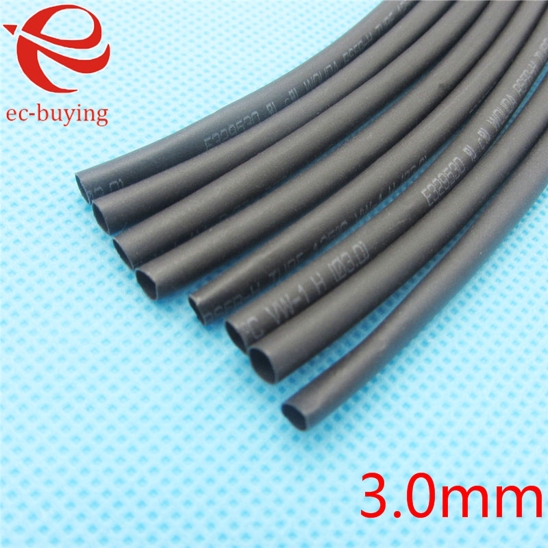 1m Heat Shrink Tubing Sleeving Heatshrink Black Tube Inner Diameter 3mm Wire Wrap Cable Kit