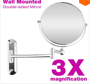 Makeup Mirror 8 Inches Wall Mounted Extending Folding Double Side 3X Magnification Cosmetic Mirror for Beauty Making Up Shaving afsel 7 inch makeup mirrors led wall mounted extending folding double side led light mirror 5x magnification bath toilet mirror