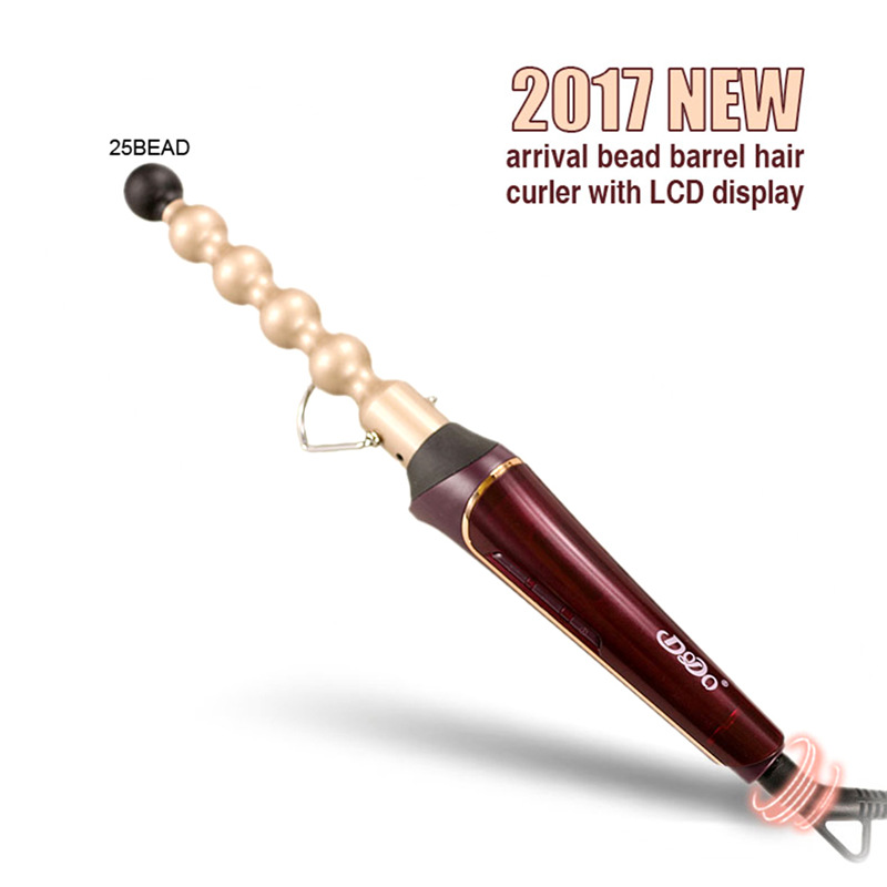New Professional Gourd Tube Hair Curler Ceramic Roller Women Curls Styling Machine Electric Curling Tools with LCD display kemei km 173 led adjustable temperature ceramic electric tube hair curler