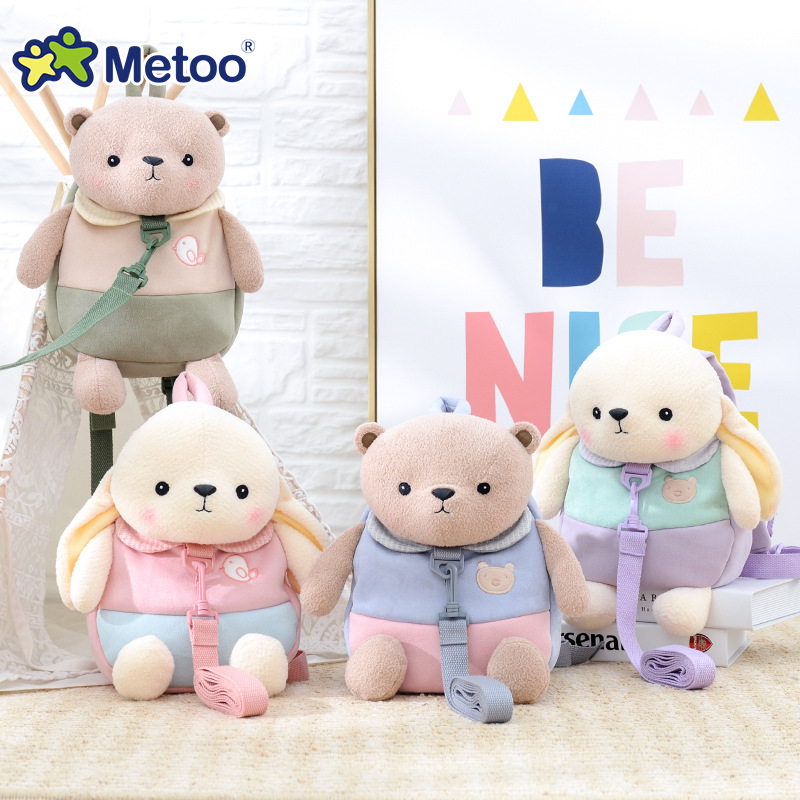 30cm Metoo Stuffed Plush Animal Kids Baby Bags Cartoon Doll Toy Children Shoulder Bag for Kindergarten Rabbit Plush Backpacks
