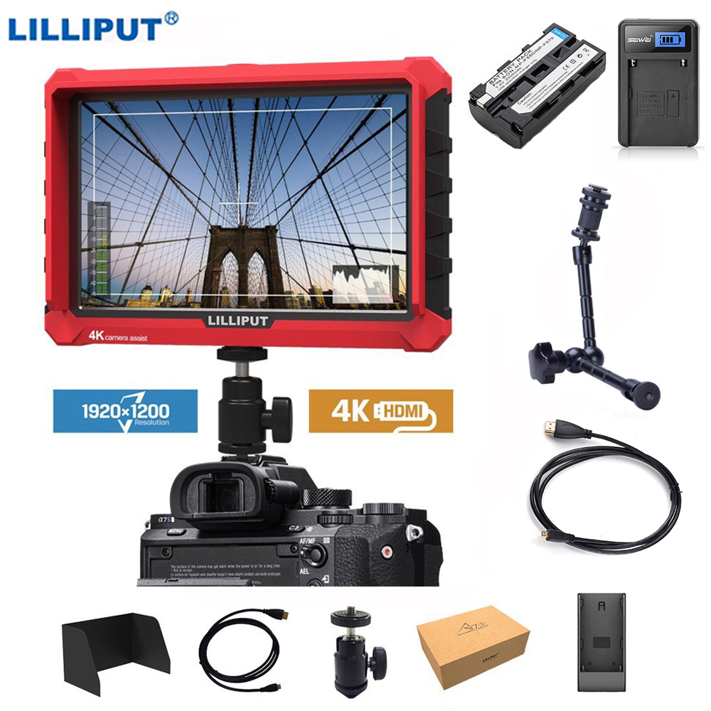 Lilliput A7s 7 inch 1920x1200 HD IPS Screen 500cd/m2 Camera Field Monitor 4K HDMI Input Output Video for DSLR Mirrorless Camera image