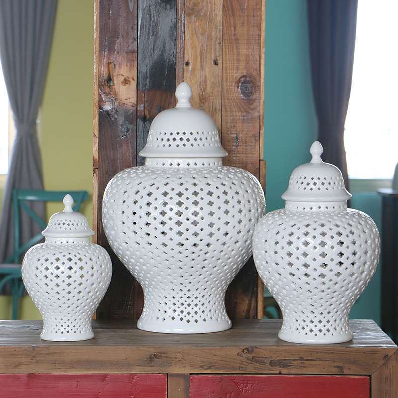 H38 CM European style pure white hollow out ginger jar decoration sets